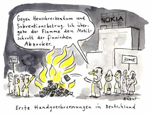 Handyverbrennung gegen die bösen Unternehmer